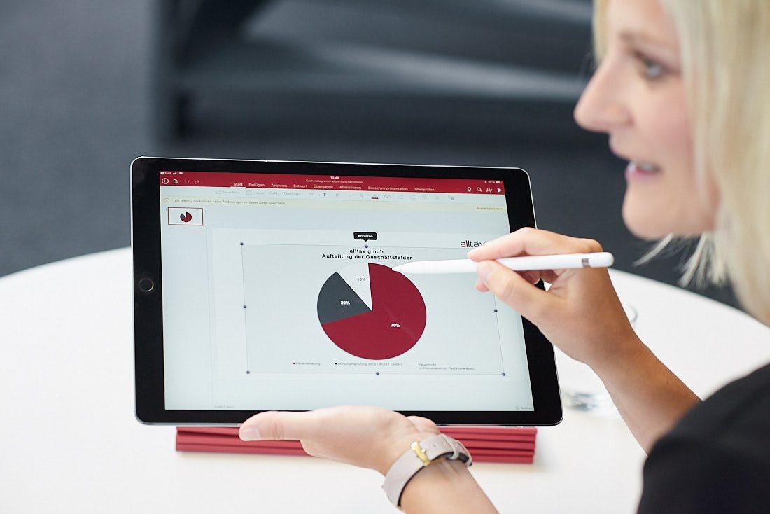 Fotograf für authentische und lebendige echte Business Bilder bei der Arbeit, Chart Diagramm auf einem iPad