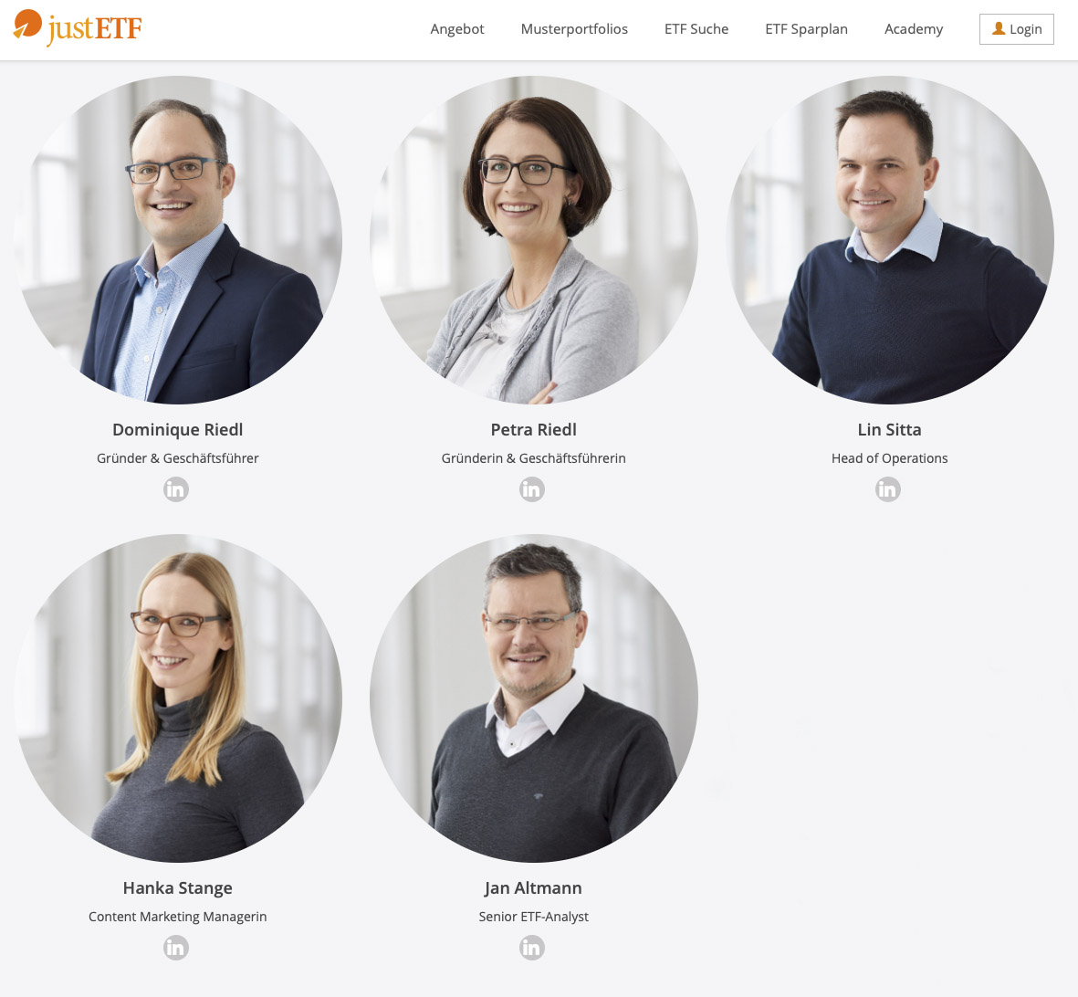 Business Portraits auf Website von justETF, Fotograf Tübingen